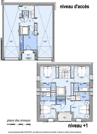 Rent in ski resort 8 room quadriplex chalet 16 people (Becca) - Le Hameau de Caseblanche - Saint Martin de Belleville - Plan