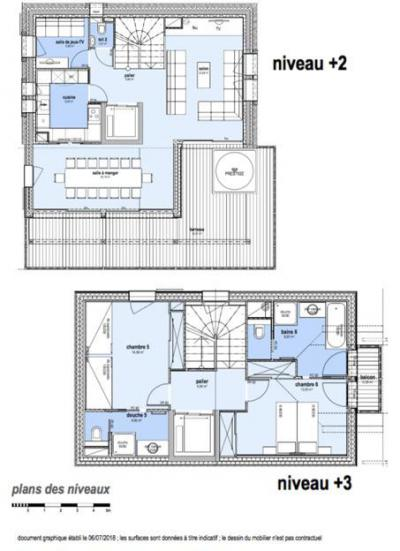 Rent in ski resort 8 room quadriplex chalet 14 people (Allium) - Le Hameau de Caseblanche - Saint Martin de Belleville - Plan