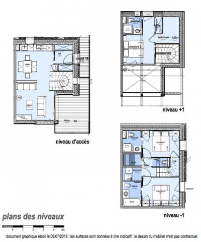 Rent in ski resort 4 room triplex chalet 6 people (Serendipity) - Le Hameau de Caseblanche - Saint Martin de Belleville - Plan