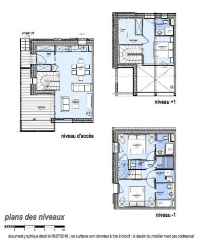 Rent in ski resort 4 room triplex chalet 6 people (Selini) - Le Hameau de Caseblanche - Saint Martin de Belleville - Plan