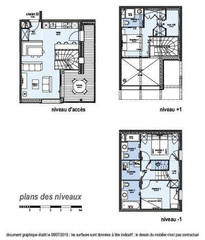 Rent in ski resort 4 room triplex chalet 6 people (Suzan) - Le Hameau de Caseblanche - Saint Martin de Belleville - Plan