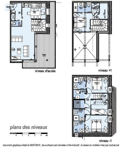 Rent in ski resort 4 room triplex chalet 6 people (Coron) - Le Hameau de Caseblanche - Saint Martin de Belleville - Plan