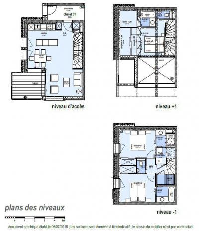 Rent in ski resort 4 room triplex chalet 6 people (Retreat) - Le Hameau de Caseblanche - Saint Martin de Belleville - Plan