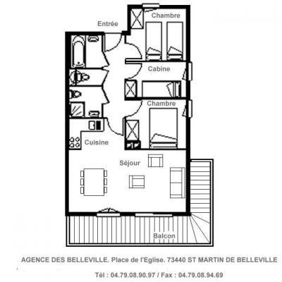 Rent in ski resort 4 room apartment 6 people (08) - Résidence Arméria - Saint Martin de Belleville - Plan