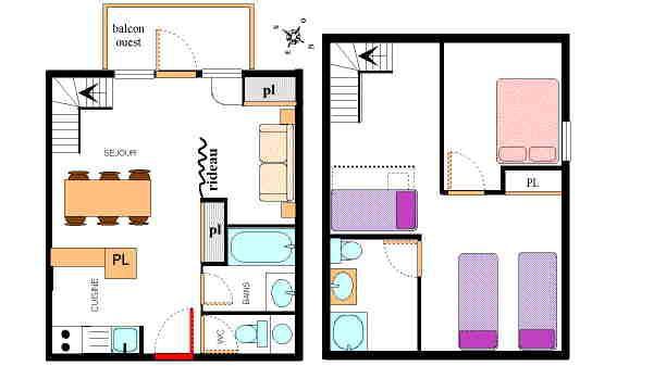 Alquiler al esquí Apartamento dúplex 3 piezas 8 personas (32) - Résidence le Petit Mont Cenis - Termignon-la-Vanoise