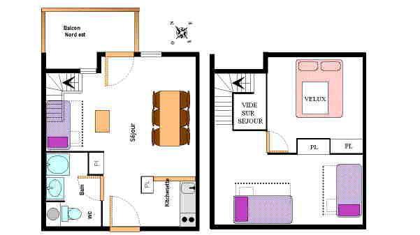 Location au ski Appartement 2 pièces mezzanine 6 personnes (26) - Résidence le Petit Mont Cenis - Termignon-la-Vanoise - Plan