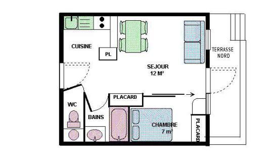 Location au ski Appartement 2 pièces 4 personnes (20) - Résidence le Petit Mont Cenis - Termignon-la-Vanoise - Plan