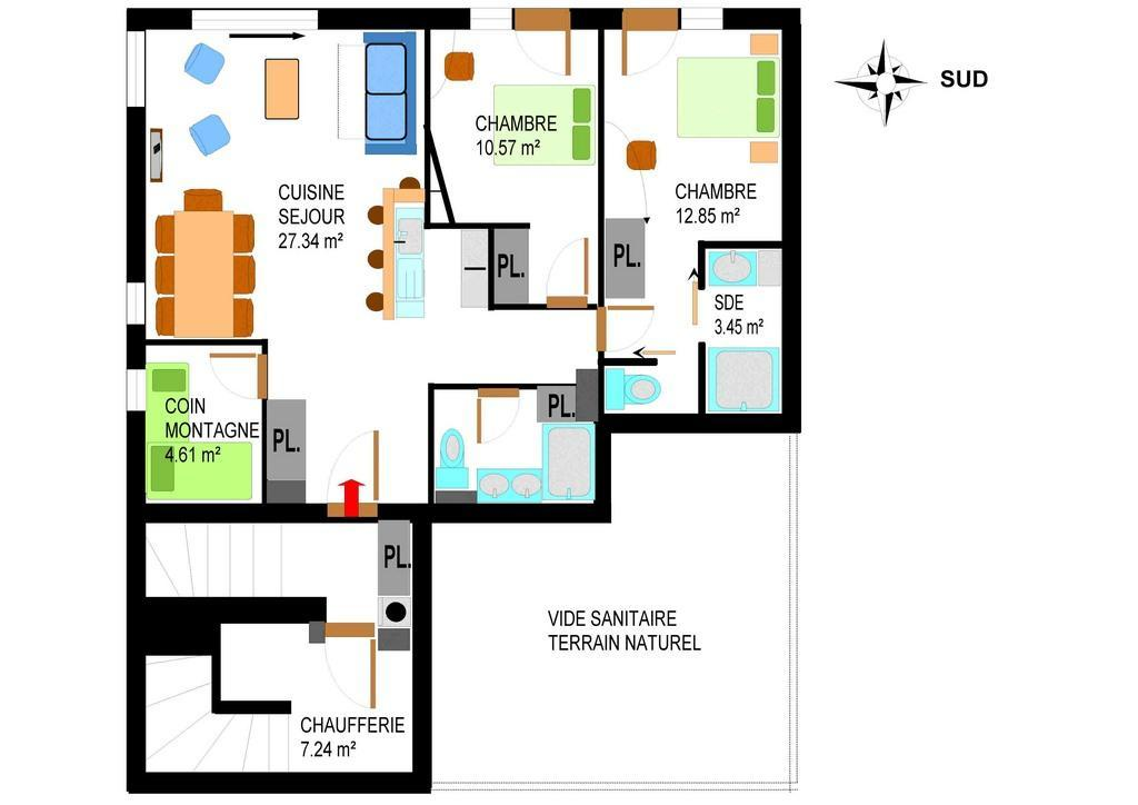 Location au ski Appartement 4 pièces 8 personnes (006) - Residence Cheneviere - Val Cenis - Plan
