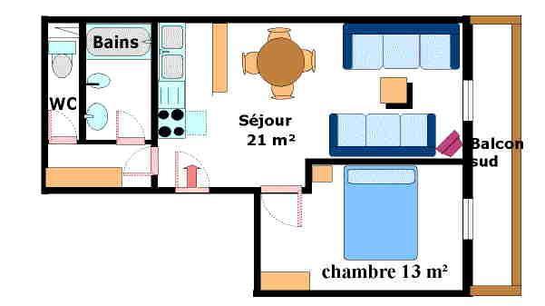 Location au ski Appartement 2 pièces 5 personnes (001) - Residence Jorcin Lanslebourg - Val Cenis