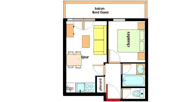 Location au ski Appartement 2 pièces 4 personnes (107) - Residence Les Alpages - Val Cenis - Plan