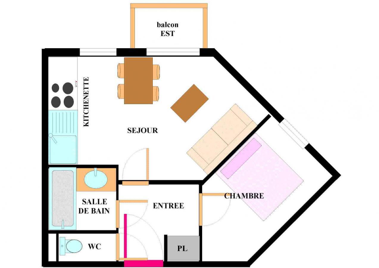 Location au ski Appartement 2 pièces 4 personnes (101) - Residence Les Alpages - Val Cenis - Plan