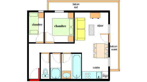Location au ski Appartement 3 pièces 6 personnes (209) - Residence Les Alpages - Val Cenis - Plan