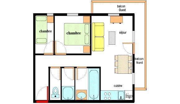 Location au ski Appartement 3 pièces 6 personnes (003) - Residence Les Alpages - Val Cenis - Plan