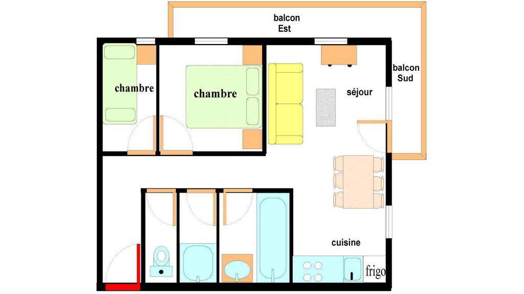 Location au ski Appartement 3 pièces 6 personnes (222) - Residence Les Alpages - Val Cenis - Plan