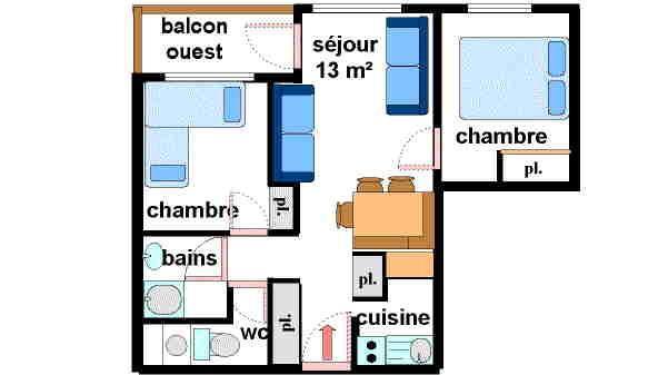 Location au ski Appartement 3 pièces 7 personnes (14) - Residences Du Quartier Napoleon - Val Cenis