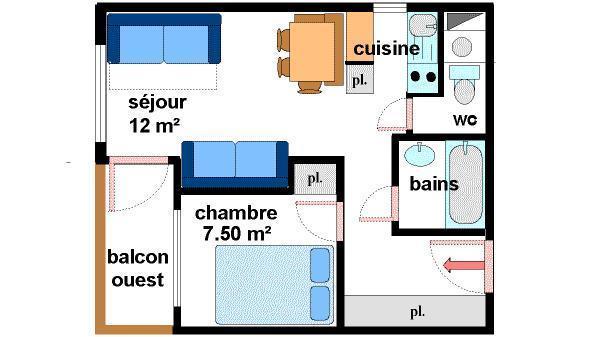Location au ski Appartement 2 pièces 5 personnes (034) - Residences Du Quartier Napoleon - Val Cenis - Plan