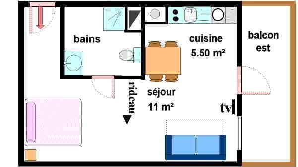 Location au ski Studio 3 personnes (021) - Residences Du Quartier Napoleon - Val Cenis - Plan