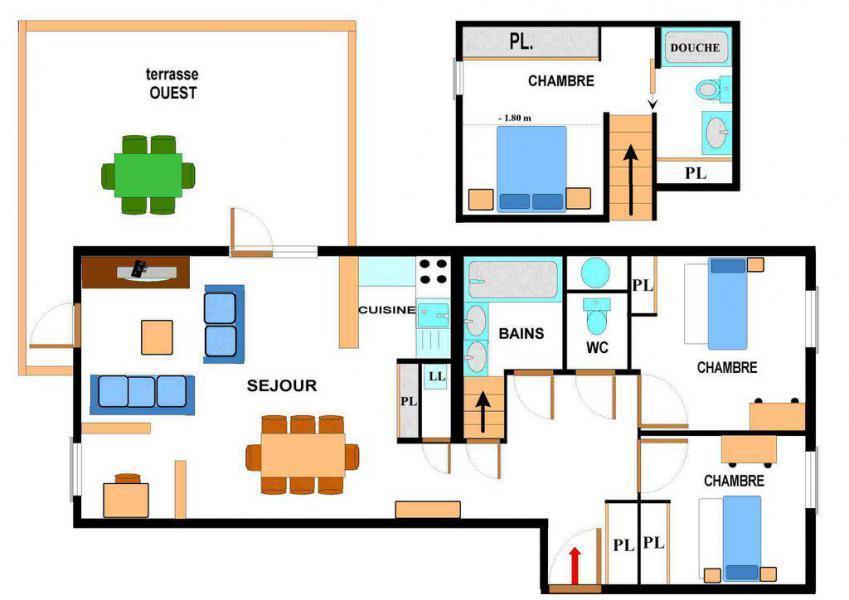 Location au ski Appartement duplex 4 pièces 6 personnes (001) - Maison Gagnière - Val Cenis