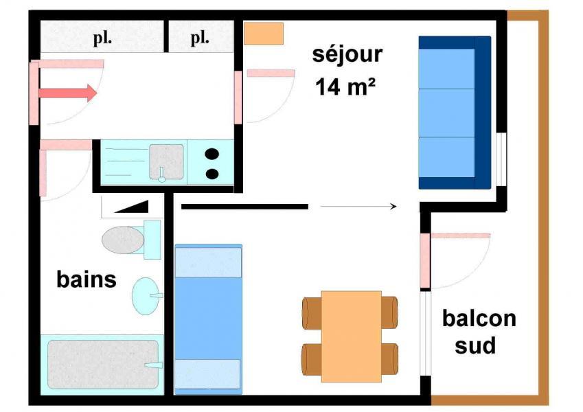 Аренда на лыжном курорте Квартира студия для 3 чел. (139) - Résidence Bouvreuil - Val Cenis - план