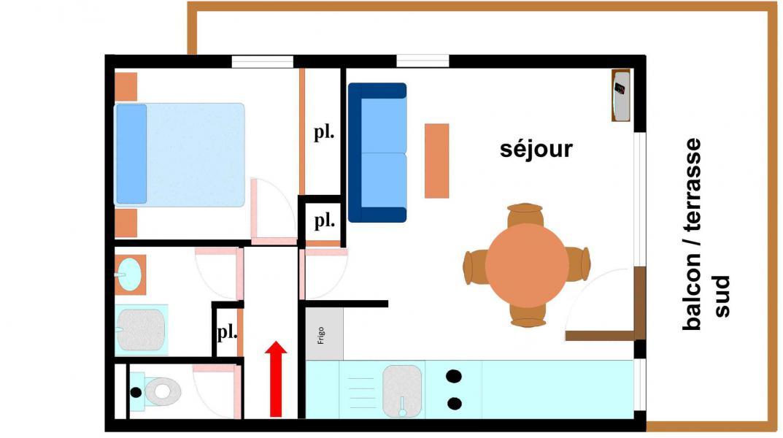 Location au ski Appartement 2 pièces 4 personnes (142) - Résidence Bouvreuil - Val Cenis - Plan