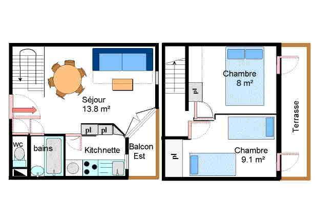 Аренда на лыжном курорте Апартаменты 3 комнат 6 чел. (083) - Résidence Chevallier - Val Cenis - план