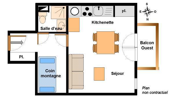 Location au ski Studio coin montagne 4 personnes (123) - Résidence Chevallier - Val Cenis
