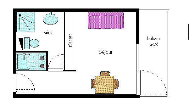 Location au ski Studio 2 personnes (256) - Résidence Choucas - Val Cenis - Plan