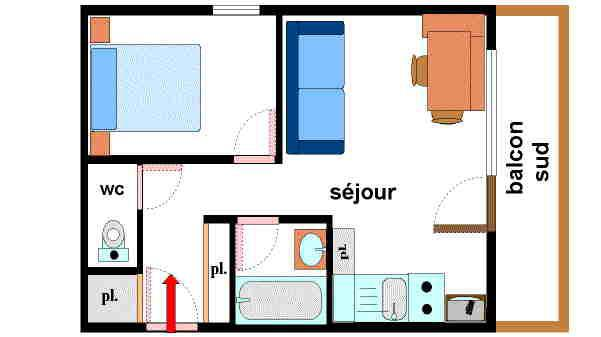 Аренда на лыжном курорте Апартаменты 2 комнат 4 чел. (053) - Résidence Colombaz - Val Cenis - план