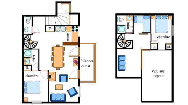 Location au ski Appartement 4 pièces mezzanine 10 personnes - Résidence Jorcin Lanslebourg - Val Cenis - Plan