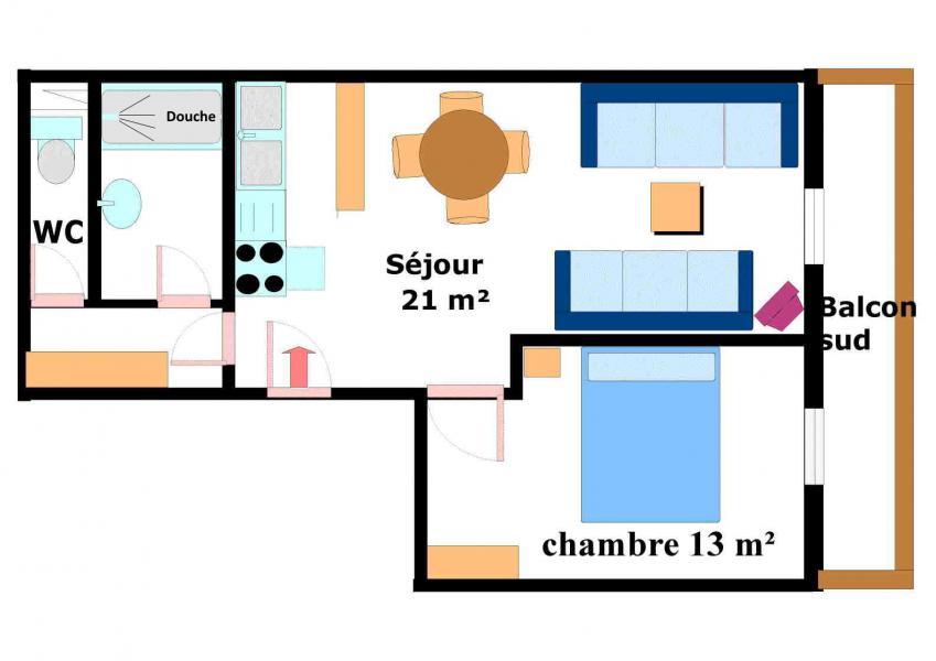 Location au ski Appartement 2 pièces 5 personnes (001) - Résidence Jorcin Lanslebourg - Val Cenis - Plan