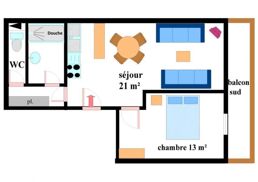 Location au ski Appartement 2 pièces 5 personnes (003) - Résidence Jorcin Lanslebourg - Val Cenis - Plan