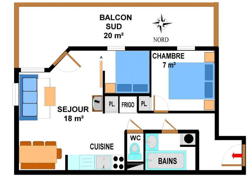Location au ski Appartement 3 pièces 6 personnes (B15) - Résidence le Bonheur des Pistes - Val Cenis - Plan