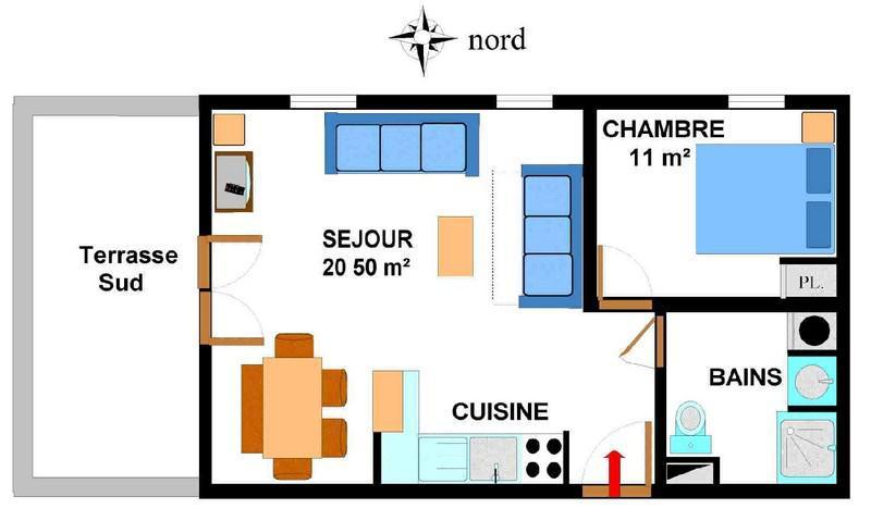 Location au ski Appartement 2 pièces 5 personnes (B03) - Résidence le Bonheur des Pistes - Val Cenis - Plan