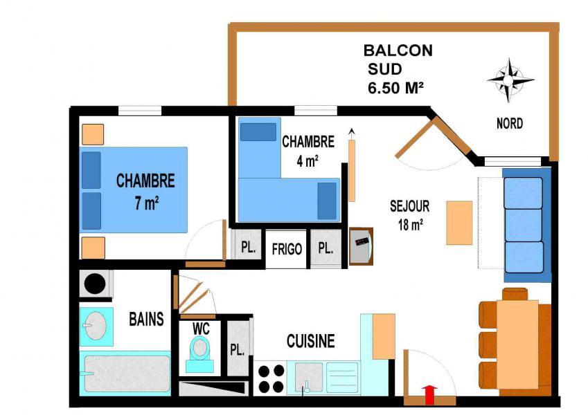 Location au ski Appartement 3 pièces 6 personnes (A70) - Résidence le Bonheur des Pistes - Val Cenis