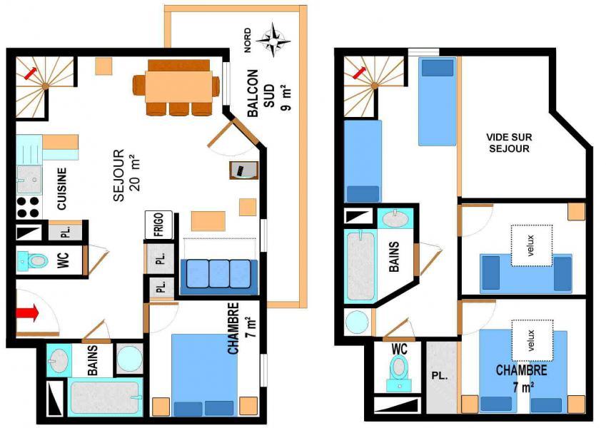 Alquiler al esquí Apartamento dúplex 4 piezas 10 personas (A77) - Résidence le Bonheur des Pistes - Val Cenis