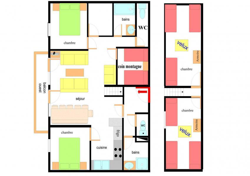 Location au ski Appartement duplex 5 pièces 12 personnes (BAA205) - Résidence les Balcons de Val Cenis le Haut - Val Cenis - Plan