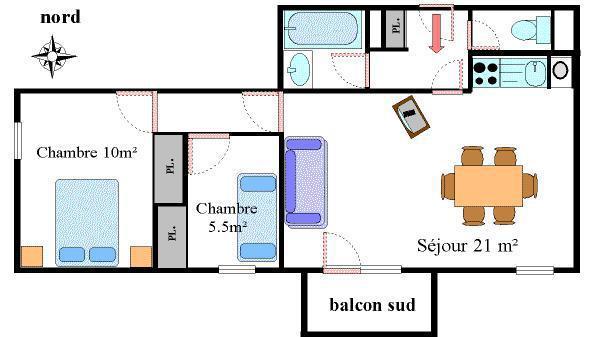 Location au ski Appartement 3 pièces 6 personnes (13) - Résidence les Essarts - Val Cenis - Plan