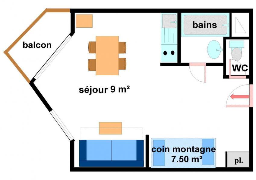 Аренда на лыжном курорте Квартира студия со спальней для 4 чел. (233) - Résidence les Hauts de Val Cenis - Val Cenis - план