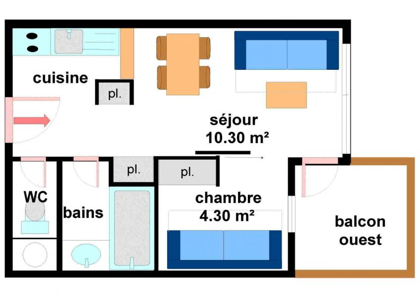 Soggiorno sugli sci Appartamento 2 stanze per 4 persone (A015) - Résidence Pied de Pistes - Val Cenis - Mappa
