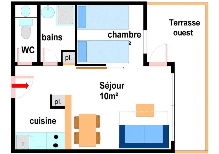 Аренда на лыжном курорте Апартаменты 2 комнат 4 чел. (B001) - Résidence Pied de Pistes - Val Cenis - план