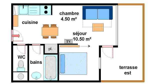 Location au ski Studio cabine 4 personnes (A005) - Résidence Pied de Pistes - Val Cenis - Plan