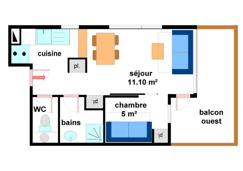 Аренда на лыжном курорте Квартира студия кабина для 4 чел. (A004) - Résidence Pied de Pistes - Val Cenis - план