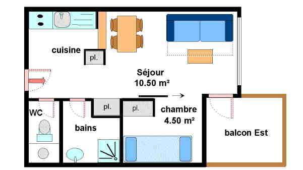 Location au ski Appartement 2 pièces 4 personnes (A012) - Résidence Pied de Pistes - Val Cenis - Plan