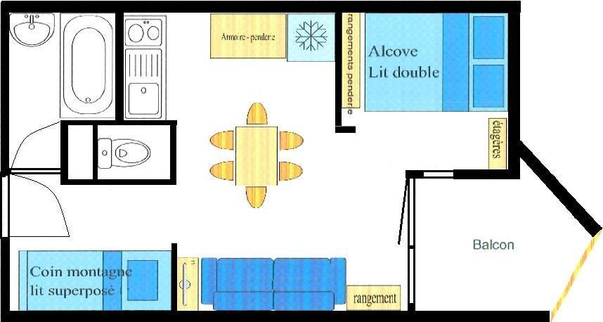 Аренда на лыжном курорте Квартира студия со спальней для 4 чел. (022) - Résidence Triade - Val Cenis - план