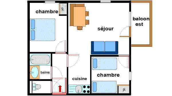 Location au ski Appartement 3 pièces 6 personnes (VALA11) - Résidence Valmonts - Val Cenis - Plan