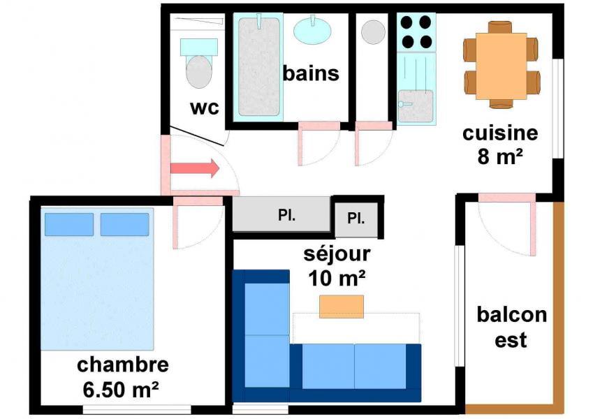 Location au ski Appartement 2 pièces 5 personnes (27) - Résidences du Quartier Napoléon - Val Cenis - Plan