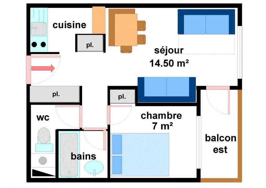 Location au ski Appartement 2 pièces 5 personnes (033) - Résidences du Quartier Napoléon - Val Cenis - Plan