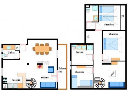Location au ski Appartement 4 pièces mezzanine 10 personnes (002) - Résidence Jorcin Lanslebourg - Val Cenis