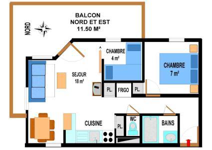 Location au ski Appartement 3 pièces 6 personnes (A62) - Residence Le Bonheur Des Pistes - Val Cenis