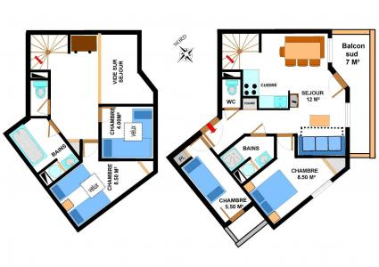 Location au ski Appartement duplex 5 pièces 10 personnes (B37) - Résidence le Bonheur des Pistes - Val Cenis - Plan